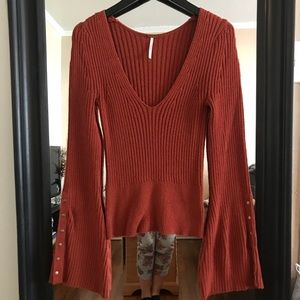 Free People bell sleeve sweater